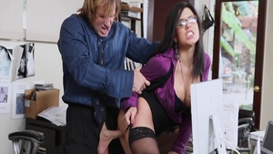 Teen chick Eva Angelina group sex in office
