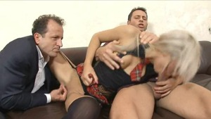 Blonde haired need plowing hard in stockings HD