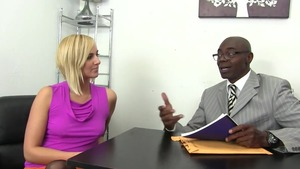 Kate England in sexy stockings blowjob cum in office HD