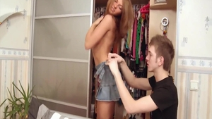 Awesome teen chick Megan Vale goes for pussy sex wearing skirt