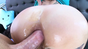 Hard pounding in company with large tits redhead