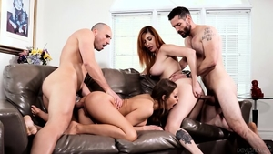 Very sexy brunette raw group sex