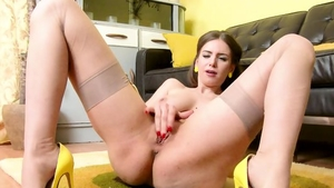 Girl Stella Cox in her lingerie masturbating at the party