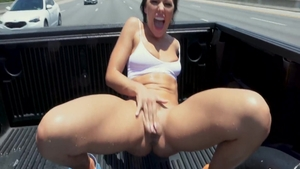 Large boobs Adriana Chechik blowjobs outdoors