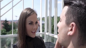 Cumshot escorted by nice brunette Tina Kay