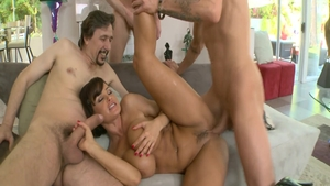Rough gangbang together with large boobs mature Lisa Ann