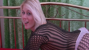Sweet Cat blonde haired in fishnet masturbation solo
