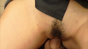 Handjob in public along with trimmed girl in uniform