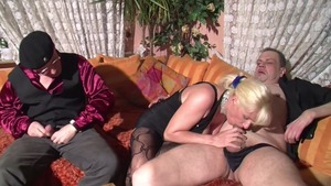 Real sex in company with busty german mature