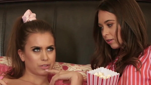Brunette Jill Kassidy and Riley Reid bends over in the bed