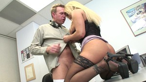 Lustful stepmom erotic blowjobs in office