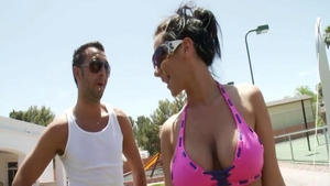 Busty Jayden Jaymes together with Keiran Lee squirts in public