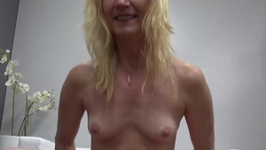 Hard ramming accompanied by small tits blonde haired