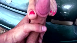 Sexy amateur foot teasing outdoors