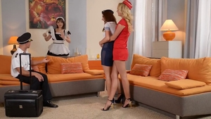 Foursome amongst gorgeous maid in uniform in HD