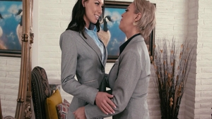 Aidra Fox in a suit with Dee Williams pussy fucking
