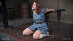 Young redhead wearing socks brutal humiliation