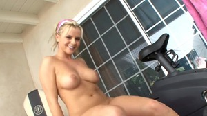 Caucasian Bree Olson toys action at the gym HD