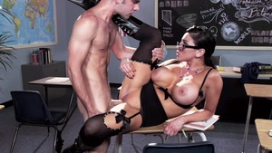 Mature Audrey Bitoni in lingerie rammed hard in school