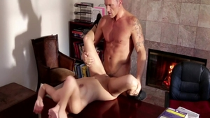 Sara Luvv in tandem with Marcus London on the table