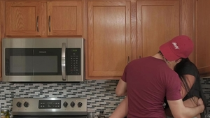 Cooking in the kitchen among big butt couple in panties