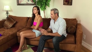 Good fucking in company with perky brunette