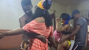 Petite nigerian BBW rough sucking cock at the party