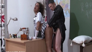 Dick sucking among big ass young ebony schoolgirl Black Cat