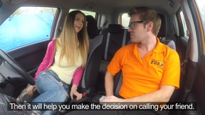 Hard ramming escorted by shaved european driver Stella Cox