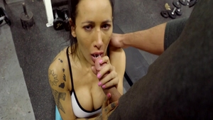 Classy brunette fucking in the gym