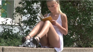 Blonde hair voyeur bends over in public