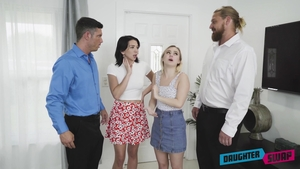 Hairy blonde Aria Banks fantasy group sex