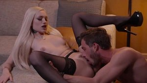 Alex Grey in sexy stockings among Lucas Frost