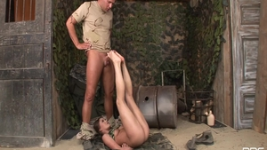 Super sexy babe feels up to hard nailining in uniform