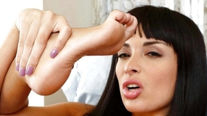 Babe Anissa Kate wearing pantyhose feet fetish at the casting