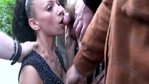 Group sex in public among chick in fishnet