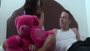 Cumshot in company with skinny cheerleader