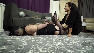 BDSM starring large tits brunette in stockings HD
