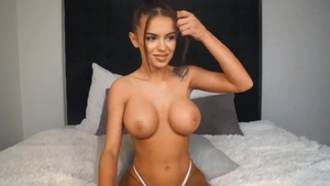 Squirting alongside large boobs babe
