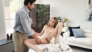 Teen chick Aiden Ashley massage on the table