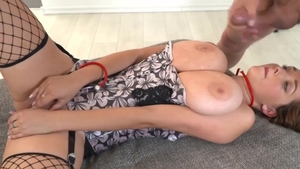 Big ass and huge tits Lucie Wilde in fishnet sucking dick