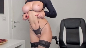 Solo very huge tits in her lingerie amateur masturbating