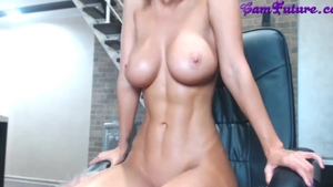 Solo busty & athletic girl rough masturbating live on cam