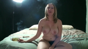Large boobs Jules Sterling smoking during interview