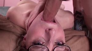 Small tits blonde babe deepthroat