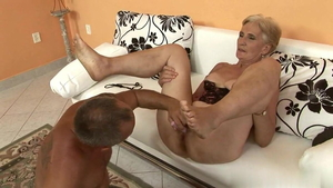 Hairy granny receives hard sex in HD
