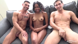 Threesome in the company of skinny ebony bisexual