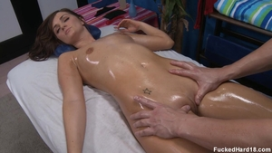 Skinny Lily Carter rough massage on the table