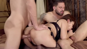 Large tits and hairy brunette interracial pounding