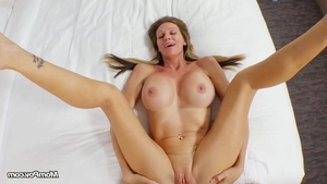 Orgasm accompanied by stunning blonde hair